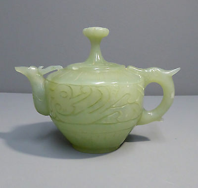 Chinese Fine Carved Green Soapstone Teapot - Jade Interest - Quality Item