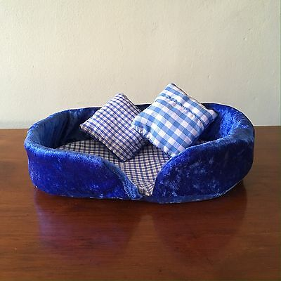 Pet Bed, Cute, Small, Blue Velvet, ideal for Guinea Pig, Hamster, Gerbil, Mice