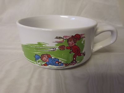 "Campbell's Soup Kids Vintage 1980 Handled Soup Bowls 4.5""  Baseball Theme"