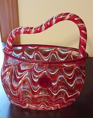 Glass purse vase - red