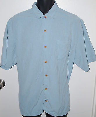 Tommy Bahama Mens XL Short Sleeve 100% Tencel Blue Checkered Button Front Shirt