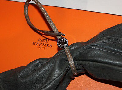 ☛Pince Porte Gants Hermes Gerbera Cuir Taupe Clou Selle  Clamp Gloves New Neuf☚