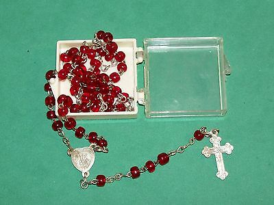 Old Small Tiny Rosary With Red Glass Beads And Plastic Case Made In Italy
