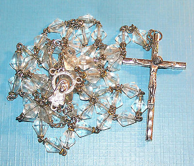Vintage Rosary Clear Faceted Crystal Beads Italy Blessed Virgin Mary & Jesus Old