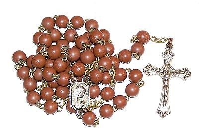 Vintage Our Lady Of Fatima Rosary With Brown Hard Plastic Beads & Virgin Mary