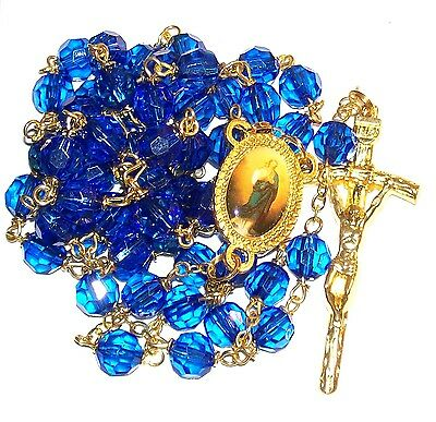 Official Marian Rosary Blue Plastic Beads Storage Box Usa Immaculate Conception