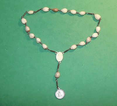 Antique Chaplet With Seed Beads Old Plastic Centerpiece St Ann Of Beaupre Medal