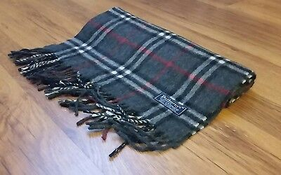 Authentic Vintage Burberry Scarf Grey Nova Check 100% Cashmere  DB
