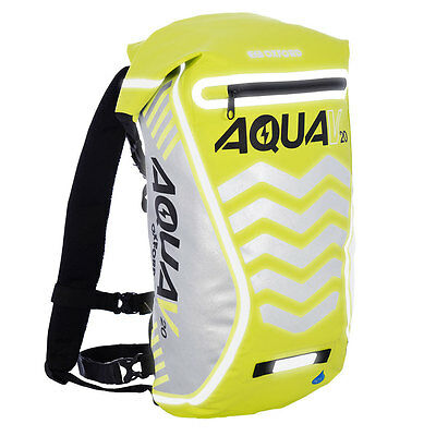 Oxford Aqua V20 Fluorescent Yellow Motorcycle Scooter Backpack Rucksack NewOL997