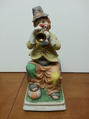 Waco Melody In Motion Signed Clown Playing Trumpet Circus Music Box