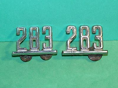 "Lot (2) Chevrolet ""283"" Fender Chrome Badge Emblem (4) Pegs Intact With (3) Nuts"