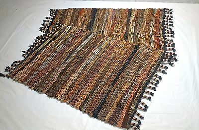 Leather Woven Rectangle Placemats Beaded Set of 2 Decorative Decor