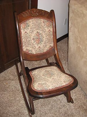 Old Vintage Wooden Folding Rocker Rocking Chair Tapestry Fabric Seat Victorian