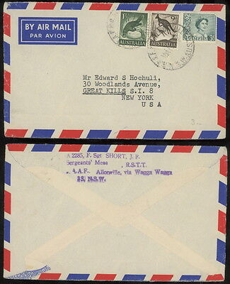 NSW 1960 airmail cover RAAF Allonville to US 1s platypus 9d roo