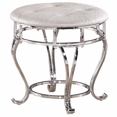 Excellent Vanity Stool For Bathroom Round Chrome Bench Seat White Faux Bralicious Painted Fabric Chair Ideas Braliciousco