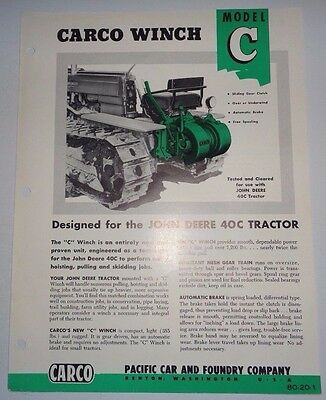 Carco C Winch made for use on John Deere 40 Crawler Tractor Sales Brochure JD