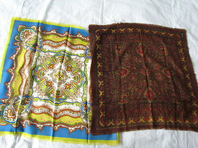 Wool Scarf Lot  Ethnic Vintage Paisley Abstract Mustard Blue Brinze Wearable
