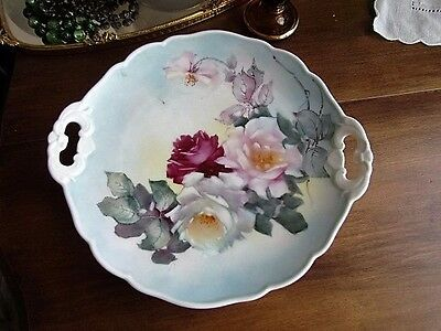 """11"""" Hutschenreuther Hand Painted Roses Handled Cake Serving Plate Rare Germany"""