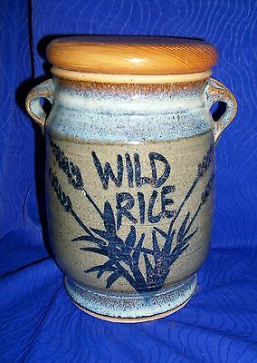 Country Blue Wild Rice Pottery Sealed Canister- Signed