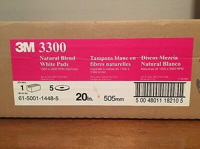 3M 3300 Natural Blend White Burnish Pads (Case of 5) 20in. NEW MM 18210