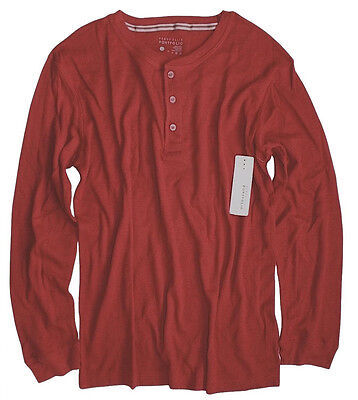 Perry Ellis - Men's L - NWT - Solid Red Cotton Blend Thermal Henley Shirt