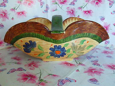 A Very Rare Art Deco Period Myott  Floral Oblong Fruit Bowl With Handle .