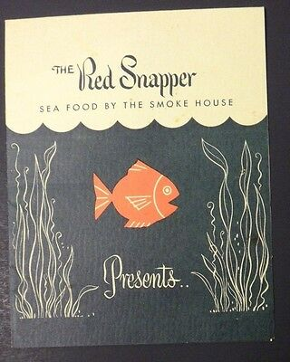 Vintage 1950's The Red Snapper Sea Food By The Smoke House Menu ~ Burbank CA