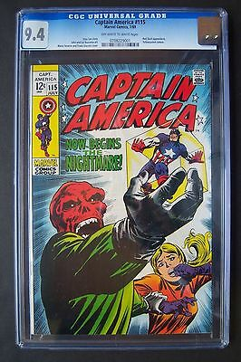 CAPTAIN AMERICA #115, Marvel Comics, CGC 9.4 grade, Red Skull appearance