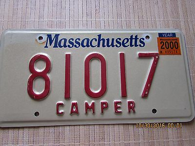 "Massachusetts License Plate ""CAMPER"" MA. Tag COLLECTIBLE EXPIRED"