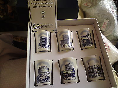 Set Of 6 Schoonhoven,holland Art Pottery Delft Pots, New In Box, Free-Mailing.
