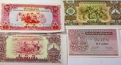 1962- 1975 Laos 1- 50 Kip Four Lovely Notes Crisp Uncirculated Currency Set