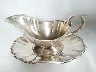 Gorham Heritage Art Deco Silver Plated Gravy Boat Bowl Under Plate EP Anchors'30
