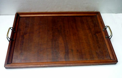 ANTIQUE / VINTAGE WOODEN TEA / drinks TRAY with brass handles