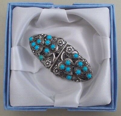 Boxed vintage sterling silver & turquoise metamorphic brooch, c.1950s/60s