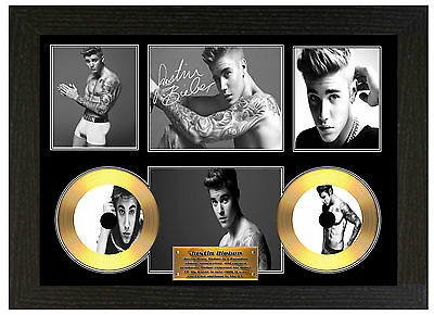Justin Bieber - A3 Signed Framed Gold Vinyl Collectors Cd Display  Picture