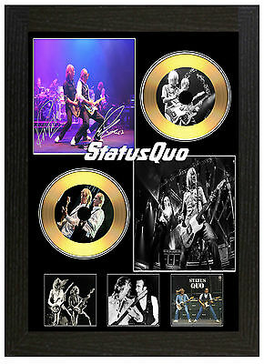 Status Quo B - A3 Signed Framed Gold Vinyl Collectors Cd Display Picture