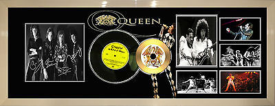 Queen  - Large Signed Framed Gold Vinyl Printed Collectors Cd Picture