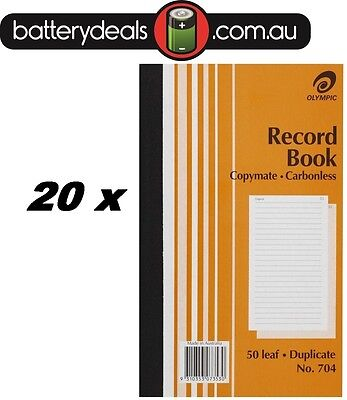 20 x Olympic Record Book Carbonless Duplicate No.704 #704 140857 200x125mm