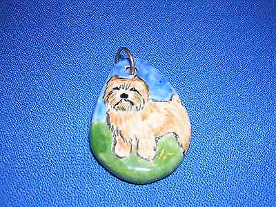 OOAK Hand-painted NORWICH TERRIER Dog Charm Pendant Mary Ellen Smith