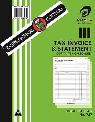 Olympic No727 Tax Invoice & Statement Triplicate Carbonless #727 250x200 140875