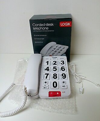 LOGIK Corded Desk Telephone With Big Buttons And Speakerphone LO5CBIG10