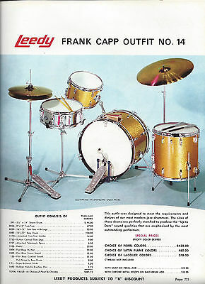 Vintage 1970  Leedy Frank Capp Outfit Drum Solo Outfit Catalog Page