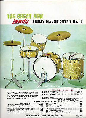 Vintage 1970  Leedy Shelly Manne Outfi Drum Solo Outfit Catalog Page