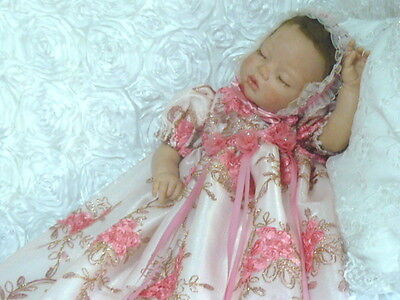 Gown Coral Floral 3D Embroidered Victorian  For Baby Or Reborn  Size 0-3 Months