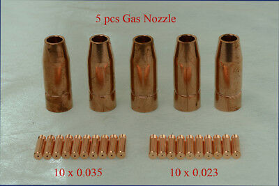 MTS-001, 5 x Gas Nozzle, 20 x .023 & .035 Tips for MTS-205 185 165 Consumables