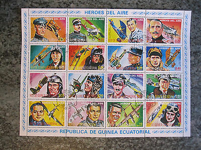 Equatorial Guinea - 1974 Aviation sheetlet of 16 different stamps - CTO