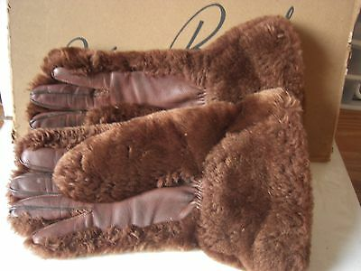 VINTAGE Fur & Leather Gloves BROWN 1940s 50s sz 8 Fay Burns Kirkcaldy