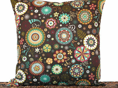Retro Floral Pillow Cover Brown Turquoise Green Red Mustard Decorative 18x18