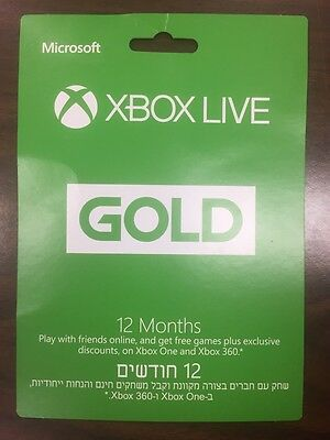 Microsoft Xbox Live 12 Month Gold Membership Subscription for Xbox One  360  LN