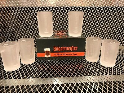 JAGERMEISTER ~ SET OF 6 Pack 1oz ~ NEW SEALED ~ FROSTED SHOT Glasses Glass